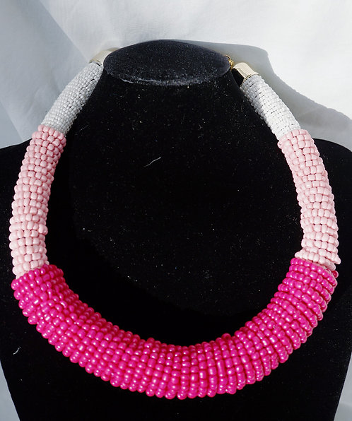 Pink On Pink Handmade Beaded Necklace