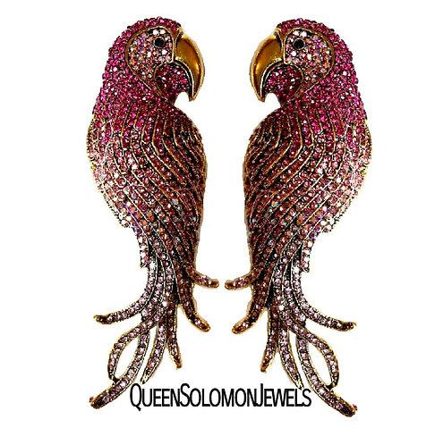 Pink Pillow Parrot Earrings