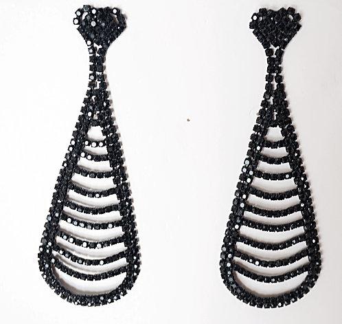 Hand Beaded Onyx Earrings