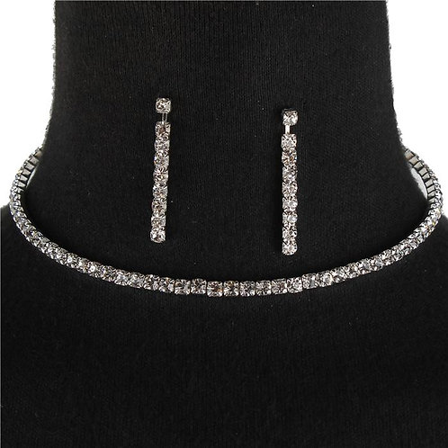 Silver Diamond Single Choker
