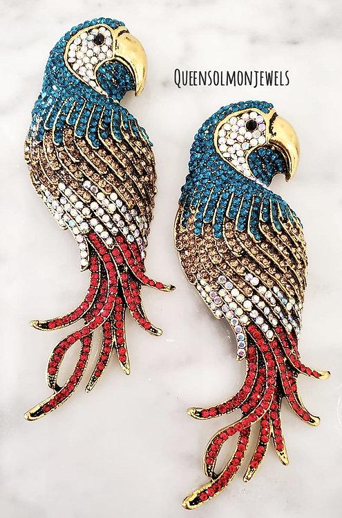 Red & Blue Parrot Earrings