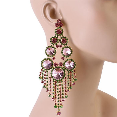 Light Pink & Green Gem Chandy Earrings