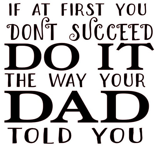 IF AT FIRST YOU DON'T SUCCEED DO IT THE WAY YOUR DAD TOLD YOU 12 X 12