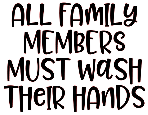 ALL FAMILY MEMBERS MUST WASH THEIR HANDS 12 X12 AT HOME KIT