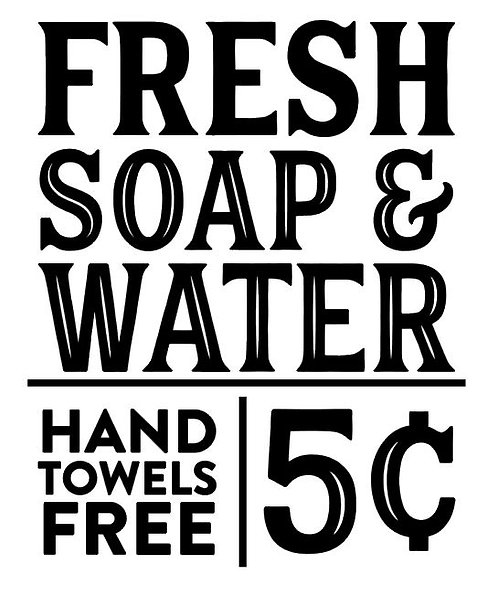 FRESH SOAP AND WATER HAND TOWELS 5 CENTS 12 X 14