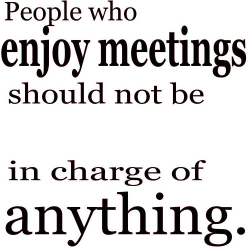 SAYING -PEOPLE WHO ENJOY MEETING SHOULD NOT BE IN CHARGE OF ANYTHING