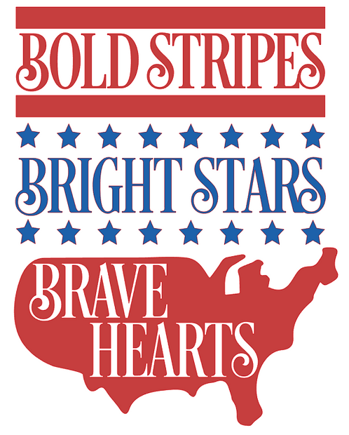 BOLD STRIPES BRIGHT STARS BRAVE HEARTS 12X14