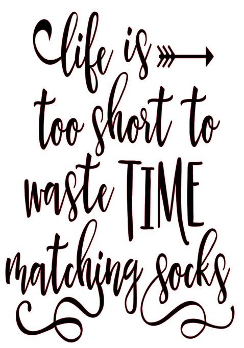 LIFE IS TO SHORT TO WASTE TIME MATCHING SOCKS 12 X 12