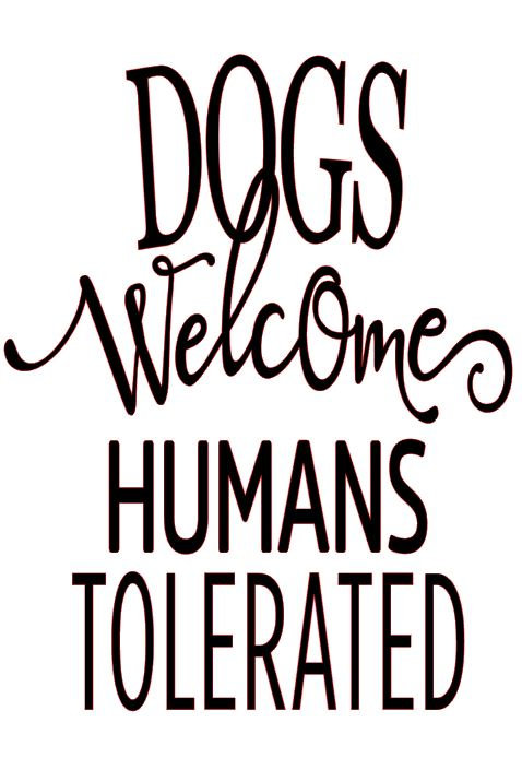 DOG WELCOME HUMANS TOLERATED 12 X 12