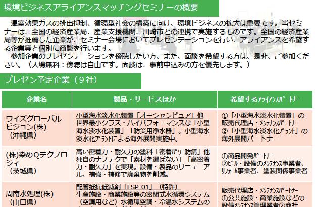 「環境ビジネスアライアンスマッチングセミナー in 川崎」(H29.2.16)のご案内