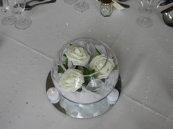 white rose in glass bowl