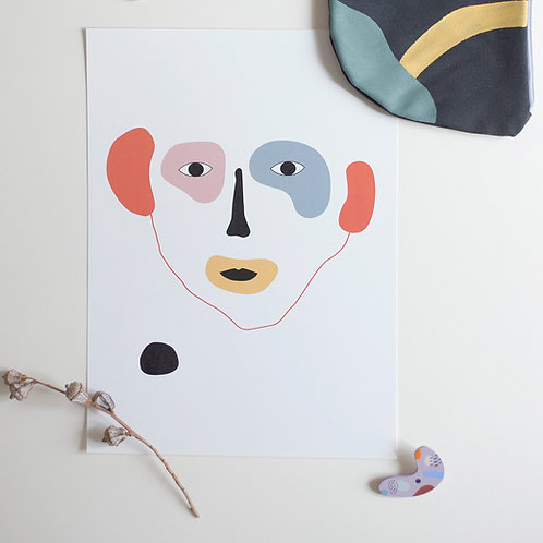 ABSTRACT FACE M print