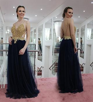 Vestido de festa azul noite e dourado