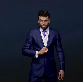 Azul Bond slim fit terno para noivo