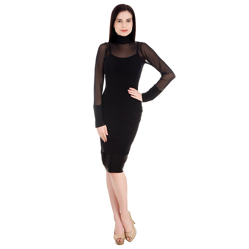 SELFreak-1 - Women's Full Sleeves Hi-Neck Black Stretchy Net Pencil Dress