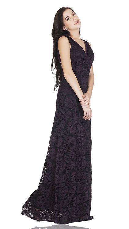 SELFreak-20 - Sleeveless Sexy V-Neck Fish Cut Floral Net Lace Long Dress