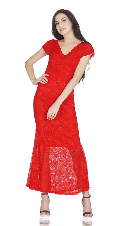 SELFreak-20 - Sleeveless Sexy V-Neck Fish Cut Floral Net Lace Long Dress
