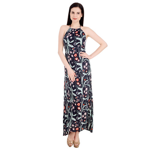 SELFreak-25 - Floral Print Sexy Spaghetti Strap Backless Slim Fit Beach Dress