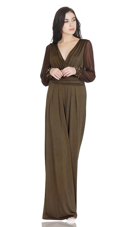 SELFreak-24 - Womens Sexy Wrap Top Wide Leg Long Sleeves Cocktail Jumpsuit