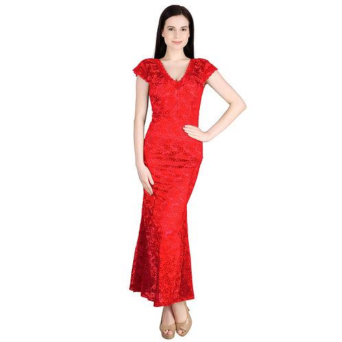 SELFreak-28 - Mega Sleeves Net Half Lining Long Dress