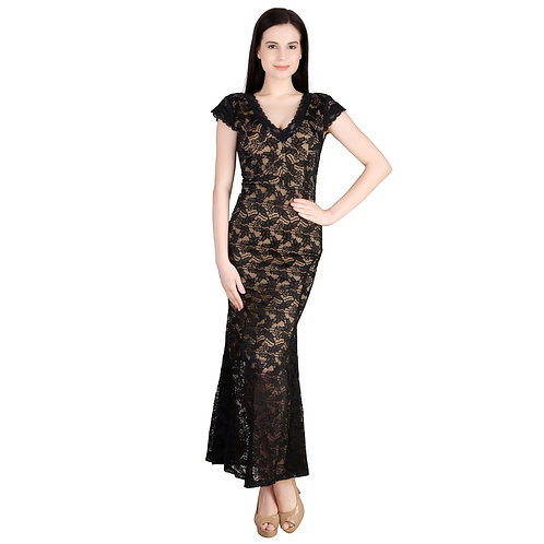 SELFreak-28 - Mega Sleeves Net Half Lining Long Dress