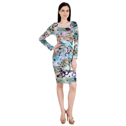 SELFreak-13 - Full Sleeves Printed Body con Slim Fit Knee Length Cocktail Dress