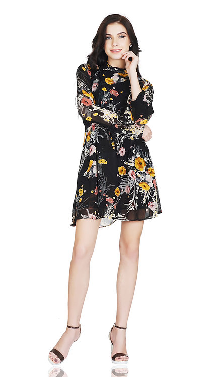 SELFreak-32 - Women's Full Sleeves Cocktail Wear Midi Frock Dress
