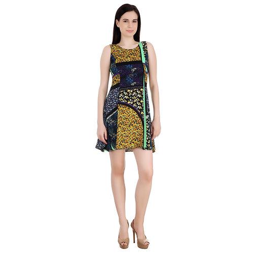 SELFreak-21 - Round Neck Sleeveless Printed Above Knee Party Wear Dress
