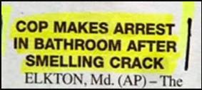 Tough cop. If I smelled crack in the bathroom, I'd be making puke, not arrests.