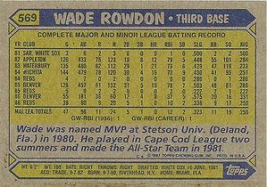Topps Wade Rowdon