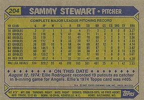 Topps Sammy Stewart