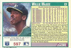 Score Willie McGee