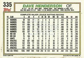 Topps Dave Henderson