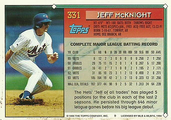 Topps Jeff McKnight