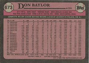 Topps Don Baylor