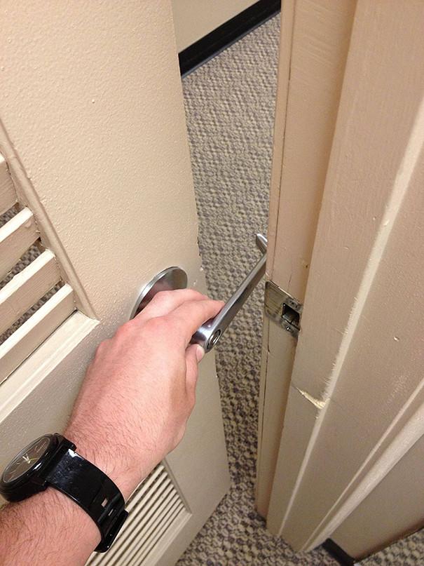 "Uncle Rick had ulterior motives when he ""fixed"" the bathroom door."