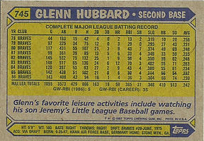 Topps Glenn Hubbard