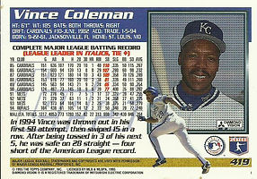 Topps Vince Coleman