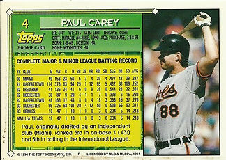 Topps Paul Carey