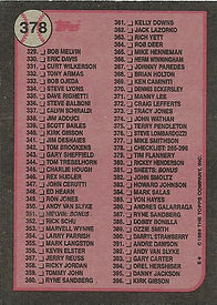 Topps 1989 Checklist