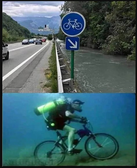 """""""...no, this isn't a prank. I almost drowned on my bike!"""""""