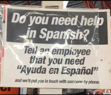 That would be effective, if only the person could read all the English on the sign.