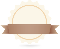 Circle & Ribbon Badge Beige