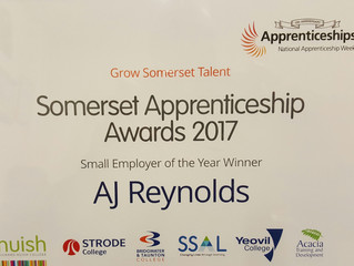 A J Reynolds wins Somerset Apprentice Award again in 2017