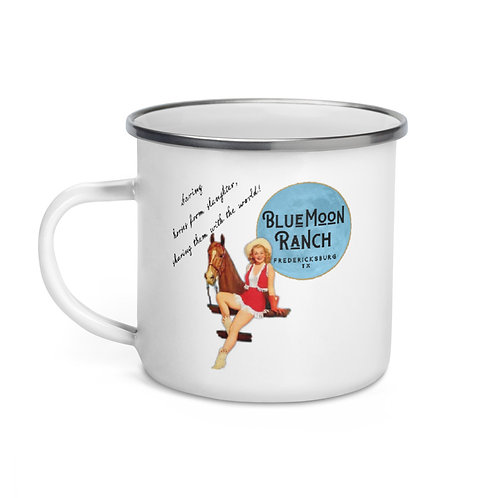 Blue Moon Ranch Pin Up Cowgirl Tin Cup