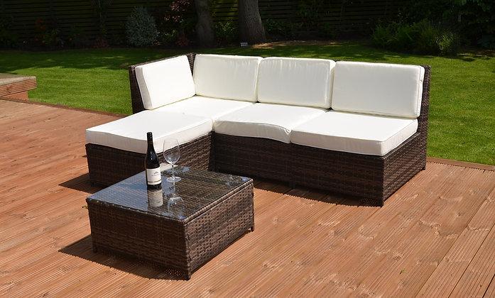 Садовый диван из ротанга + столик + пуф