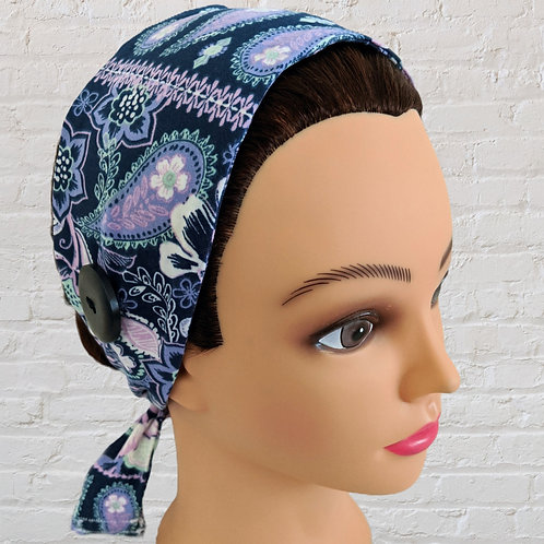 Ear-Saver Tie Headband - Purple Paisley