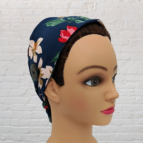 Ear-Saver Tie Headband - Blue Floral