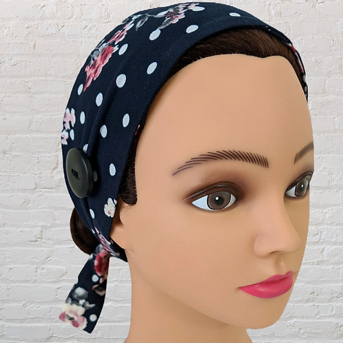 Ear-Saver Tie Headband - Navy Blue Floral & Polka Dot