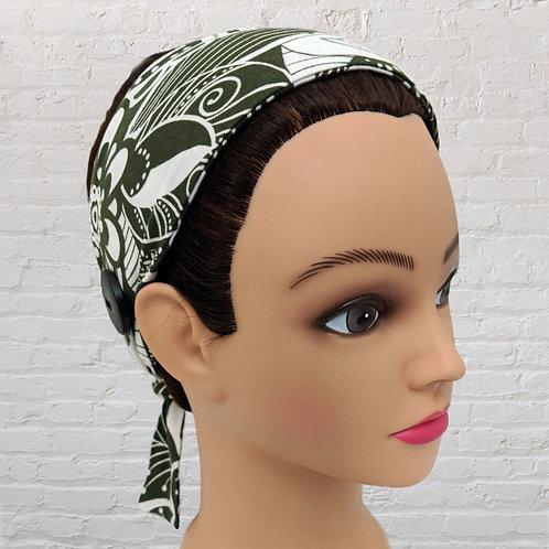 Ear-Saver Tie Headband- Olive Green Lace